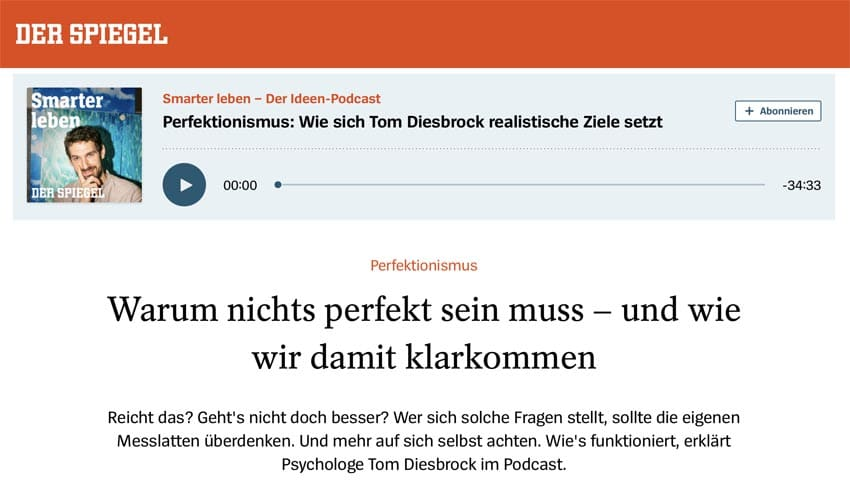 Coaching Hamburg - Tom Diesbrock auf Spiegel Online